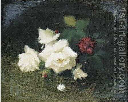 White and red roses 2 by James Stuart Park - Reproduction Oil Painting