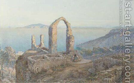 An inconsolable peasant girl before ruins on the Italian coast by James Talmage-White - Reproduction Oil Painting