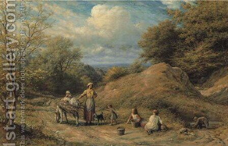 Cottager and Tramps by James Thomas Linnell - Reproduction Oil Painting