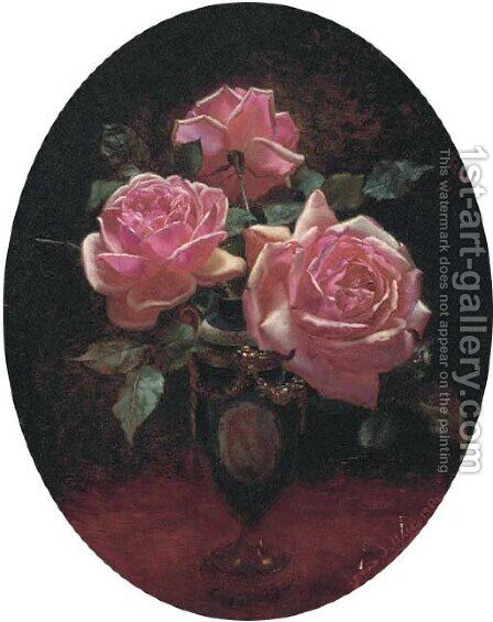 Roses in a Sevres vase by James Wallace - Reproduction Oil Painting