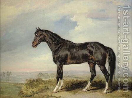 A Dongola stallion from Nubia, in an Egyptian landscape with pyramids by James Ward - Reproduction Oil Painting