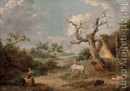 A wooded landscape with figures in the foreground and horses and pigs by a cottage by James Ward - Reproduction Oil Painting
