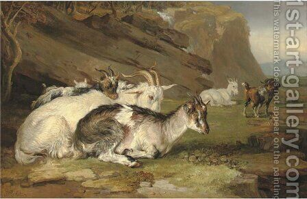 Goats in a rocky landscape by James Ward - Reproduction Oil Painting