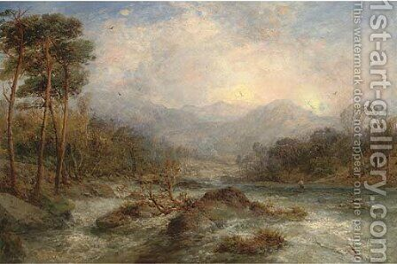 An angler on a river in full spate by James Webb - Reproduction Oil Painting