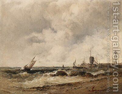 Shipping off a pier in stormy seas by James Webb - Reproduction Oil Painting