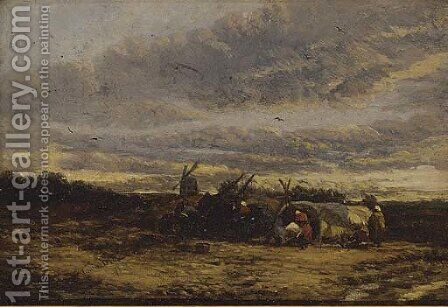 The gypsy encampment, Suffolk by James Webb - Reproduction Oil Painting
