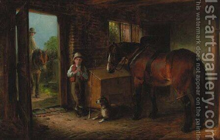 In the stable by James Cole - Reproduction Oil Painting