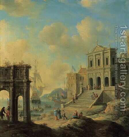 A capriccio of an Italianate harbour capriccio with the Arch of Constantine and a church with figures, shipping beyond by Jan Abrahamsz. Beerstraten - Reproduction Oil Painting