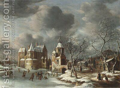 A village in winter with figures skating on a frozen river by Jan Abrahamsz. Beerstraten - Reproduction Oil Painting
