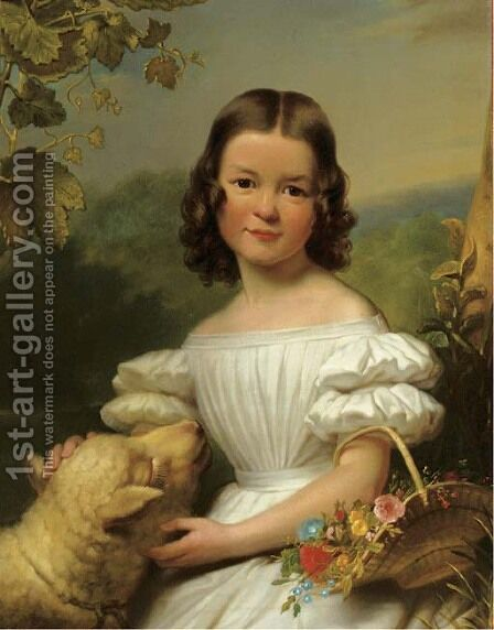 Portrait of a girl in a white dress by Jan Adam Janszoon Kruseman - Reproduction Oil Painting