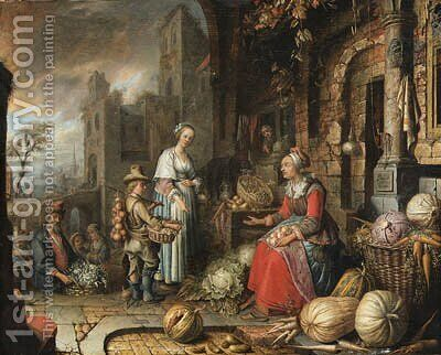 A greengrocer's stall by a gothic style building, a port beyond by Jan Adriansz van Staveren - Reproduction Oil Painting