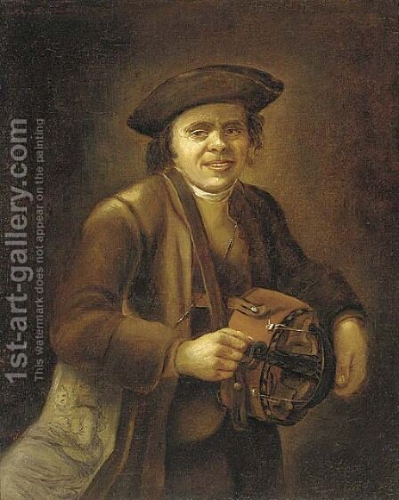 A hurdy-gurdy player by Jacob Rootius - Reproduction Oil Painting