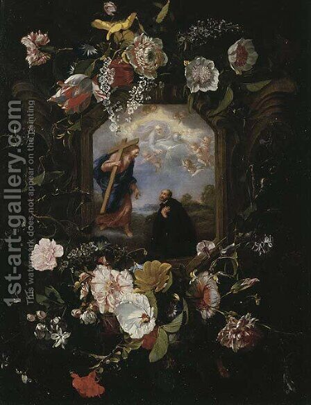A floral garland surrounding a cartouche with the Vision of Saint Ignatius Loyola by Jan Anthonie Van Der Baren - Reproduction Oil Painting