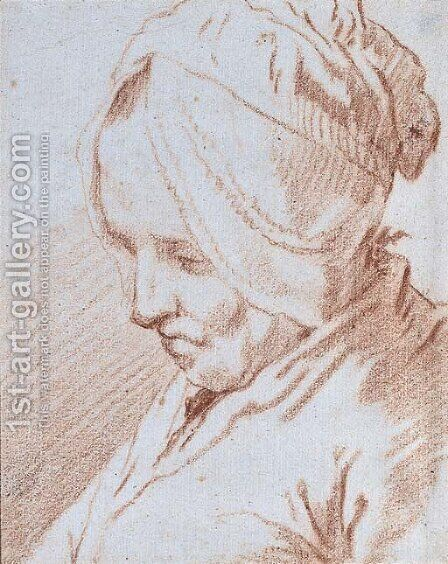 Portrait of an old lady by Jan-Anton Garemyn - Reproduction Oil Painting