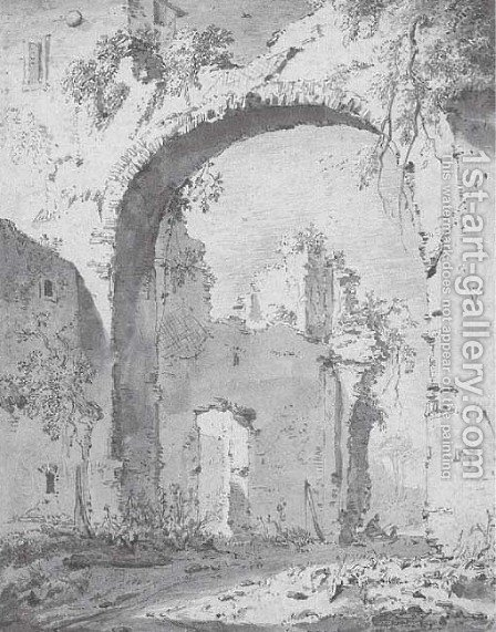 A ruined villa in the Roman campagna seen through a high arch by Jan Asselijn - Reproduction Oil Painting