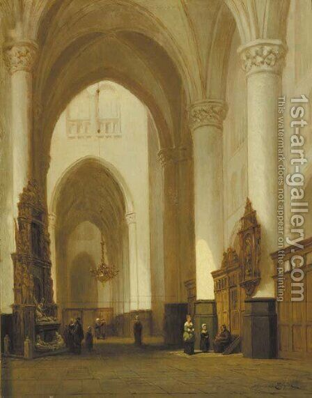 A church interior with worshippers by Jan-Baptiste Tetar van Elven - Reproduction Oil Painting