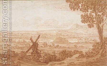 An extensive panoramic landscape with a windmill by Jan Baptist Weenix - Reproduction Oil Painting