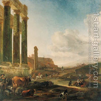 An Italianate landscape with a ruined Doric colonnade by Jan Baptist Weenix - Reproduction Oil Painting