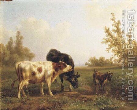 Cows and a goat in a sunlit meadow by Jan Bedijs Tom - Reproduction Oil Painting