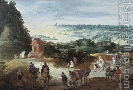 An extensive river landscape with travellers on a path by Jan The Elder Brueghel - Reproduction Oil Painting