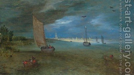 A view of the Scheldt with Antwerp beyond by Jan, the Younger Brueghel - Reproduction Oil Painting