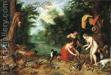 Diana and her nymphs inspecting their catch after the hunt by Jan, the Younger Brueghel - Reproduction Oil Painting