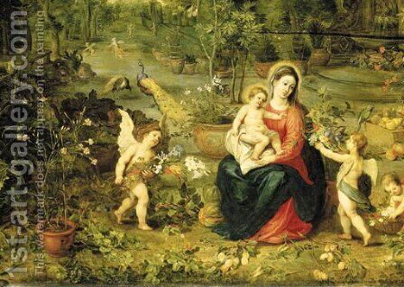 The Madonna and Child seated in a garden with putti, birds and animals by Jan, the Younger Brueghel - Reproduction Oil Painting