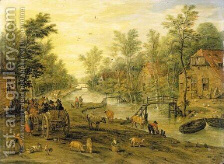 A wooded river landscape with travellers in horse-drawn carts and livestock by Jan, the Younger Brueghel - Reproduction Oil Painting