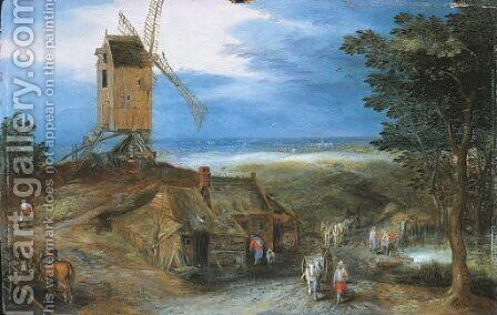 An extensive landscape with travellers passing a cottage and a miller on his way to a windmill by Jan, the Younger Brueghel - Reproduction Oil Painting