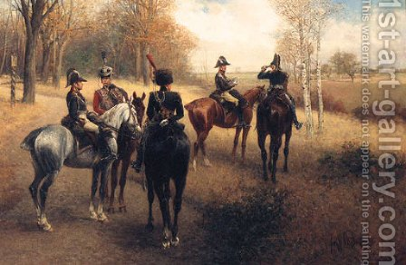 Prussian Staff And Cavalry Officers On Reconnaissance by Jan van Chelminski - Reproduction Oil Painting