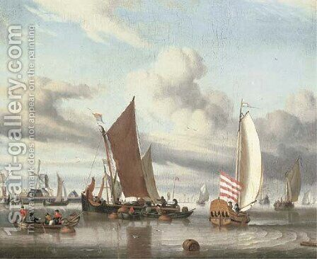 Shipping in a calm sea off a jetty by Jan Claes Rietschoof - Reproduction Oil Painting
