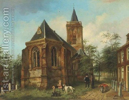 The church of Eemnes-Buitendijks children by the village church by Jan Czn. Fabius - Reproduction Oil Painting