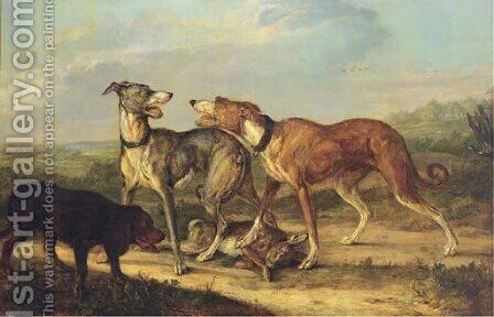 Hounds fighting over a hare in an extensive landscape by Jan Dasveldt - Reproduction Oil Painting