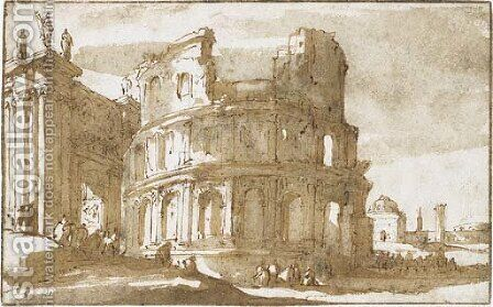 Figures by a ruined Roman building by Jan de Bisschop - Reproduction Oil Painting