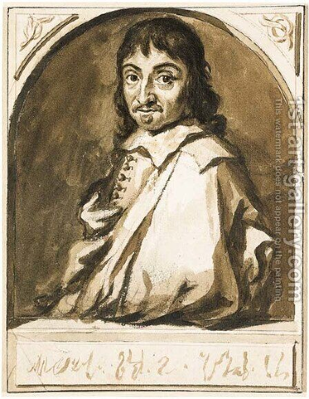 Portrait of Rene Descartes by Jan de Bisschop - Reproduction Oil Painting