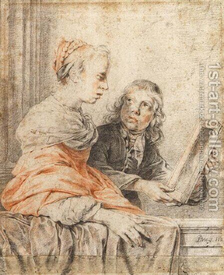 A young girl looking at her reflection in a mirror held by a page by Jan De Bray - Reproduction Oil Painting