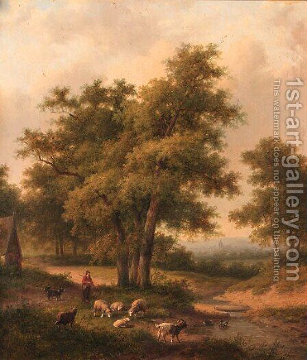 A shepherd and his flock in a wooded landscape by Jan Evert Morel - Reproduction Oil Painting