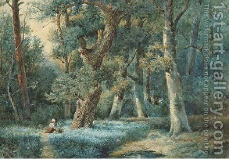 Gathering wood in the forest by Jan Evert Morel - Reproduction Oil Painting