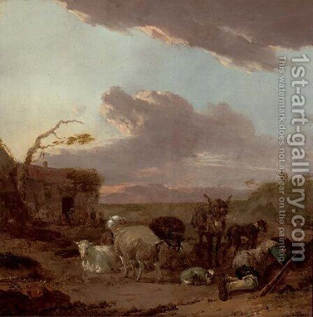 An evening landscape with a shepherd resting with his flock by a house by Jan Frans Soolmaker - Reproduction Oil Painting
