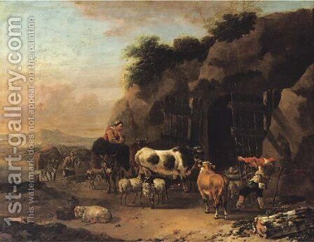 Peasants driving their cattle and sheep into a cave in an Italianate landscape by Jan Frans Soolmaker - Reproduction Oil Painting