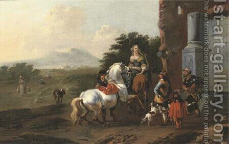 Riders resting by a fountain with a mendicant and dogs, figures on a path and mountains beyond by Jan Frans Soolmaker - Reproduction Oil Painting