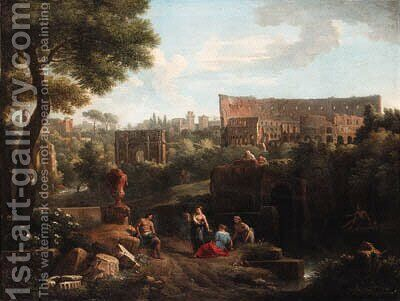 A capriccio of Rome with the Colosseum and the Arch of Constantine by Jan Frans van Orizzonte (see Bloemen) - Reproduction Oil Painting