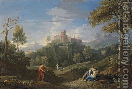 An extensive mountainous landscape with figures on a path, a castle beyond by Jan Frans van Orizzonte (see Bloemen) - Reproduction Oil Painting