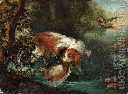 A hunting dog retrieving a mallard by Jan Fyt - Reproduction Oil Painting
