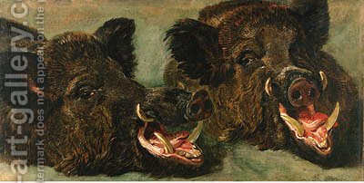 Studies of the head of a wild boar by Jan Fyt - Reproduction Oil Painting