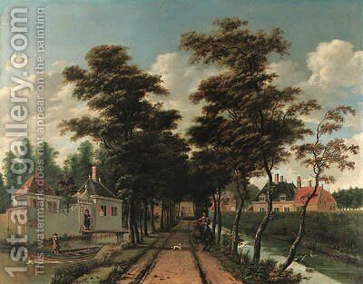 An avenue between two canals with a horseman and a dog by Jan Gabrielsz. Sonje - Reproduction Oil Painting