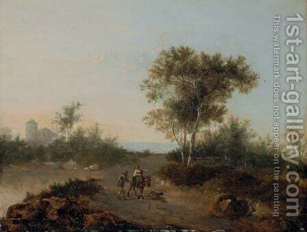 An Italianate landscape with travelers on a path by Jan Gabrielsz. Sonje - Reproduction Oil Painting