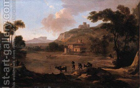 Muleteers fording a river with anglers on a river-bank nearby, in an Italianate landscape by Jan Gabrielsz. Sonje - Reproduction Oil Painting