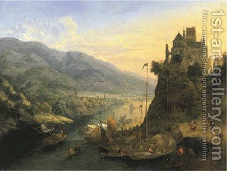 A Rhenish river landscape with a city below and a monastery on a hill by Jan Griffier - Reproduction Oil Painting