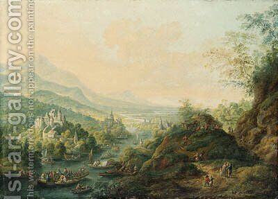 An extensive Rhenish landscape with castles along a river and peasants boating by Jan Griffier - Reproduction Oil Painting